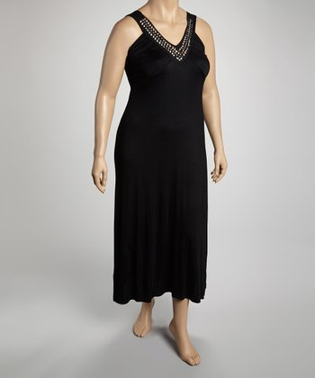 Black Jersey Studded Necklace Maxi Dress