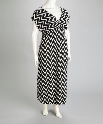 Black Zigzag Maxi Dress - Plus