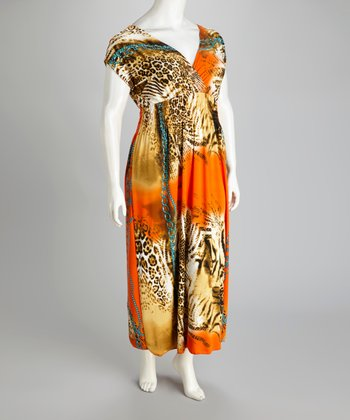 Orange Animal Maxi Dress - Plus