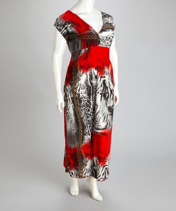 Red Animal Maxi Dress - Plus