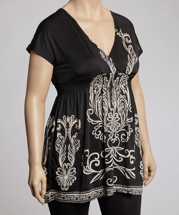 Black Filigree Tunic - Plus