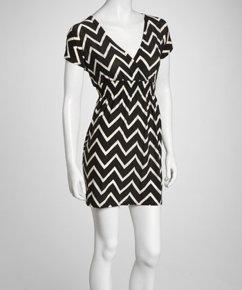 Black & White Zigzag Surplice Dress