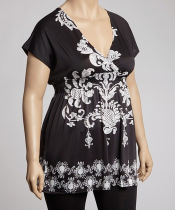 Black Damask Tunic - Plus