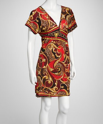 Red & Yellow Status Cape-Sleeve Dress