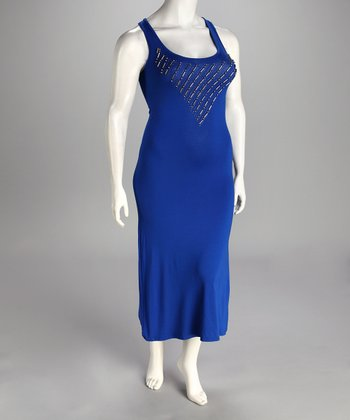 Blue Racerback Plus-Size Maxi Dress
