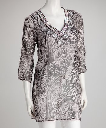 Black & White Safari Embellished Chiffon Tunic