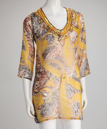 Gold Safari Embellished Chiffon Tunic