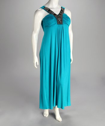 Blue Plus-Size Maxi Dress
