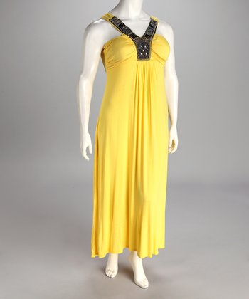 Yellow Plus-Size Maxi Dress
