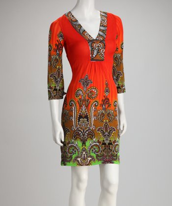 Orange Scroll V-Neck Dress