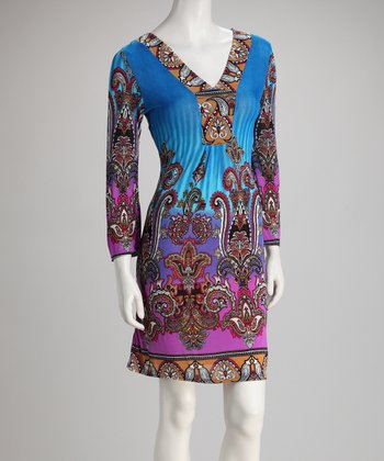 Turquoise Scroll V-Neck Dress