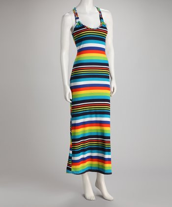 Green Stripe Racerback Maxi Dress