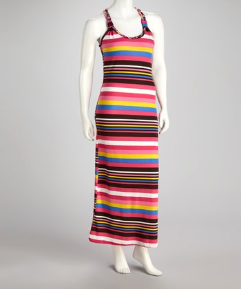 Pink Stripe Racerback Maxi Dress
