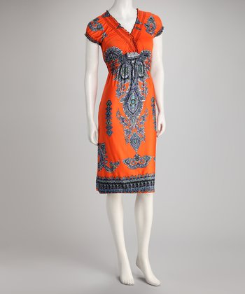 Orange & Black Shirred Empire-Waist Dress