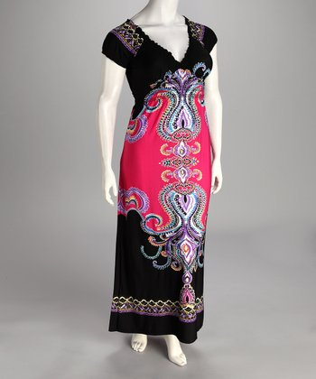 Fuchsia V-Neck Plus-Size Maxi Dress - Plus