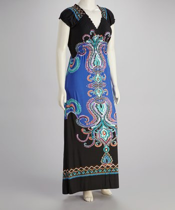 Blue & Black Abstract Print Plus-Size Maxi Dress - Plus