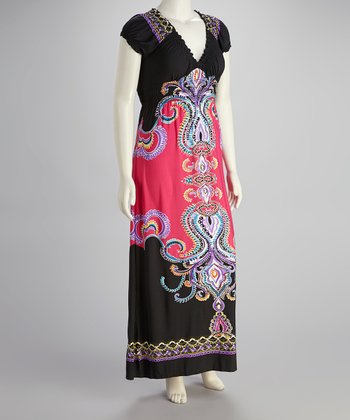 Fuchsia & Black Abstract Maxi Dress - Plus