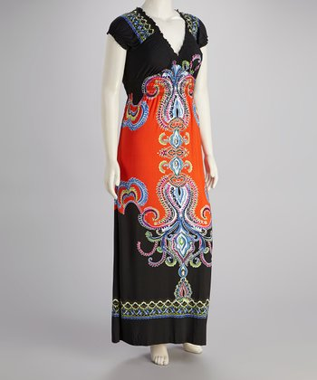 Orange & Black Abstract Maxi Dress - Plus