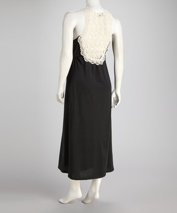 Black Crocheted-Back Sleeveless Maxi Dress