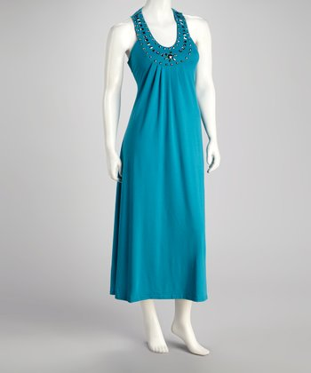 Teal Crocheted-Back Racerback Dress