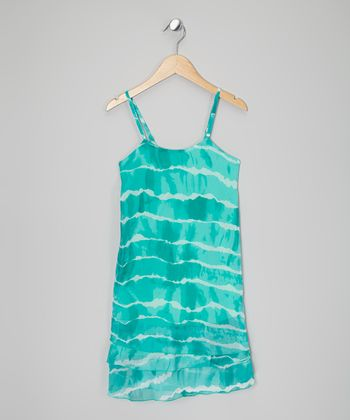 Aqua Ruffle Tier Dress