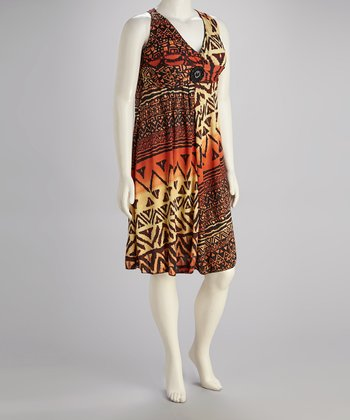 Orange Abstract Empire-Waist Dress - Plus