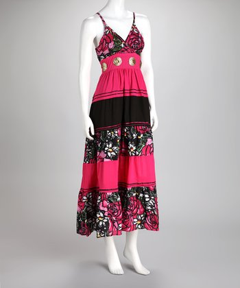 Fuchsia Floral Stripe Maxi Dress