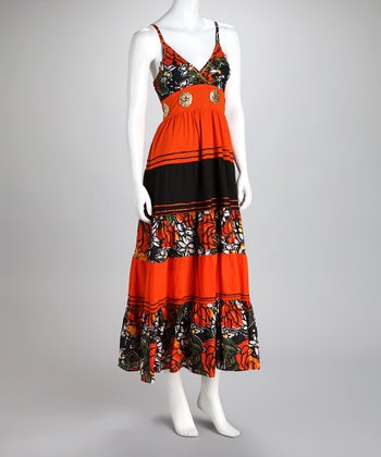 Orange Floral Stripe Maxi Dress