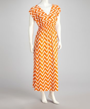 Orange Zigzag Surplice Maxi Dress - Plus