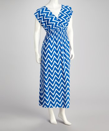Royal Zigzag Surplice Maxi Dress - Plus