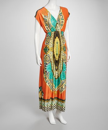 Orange Abstract Surplice Maxi Dress