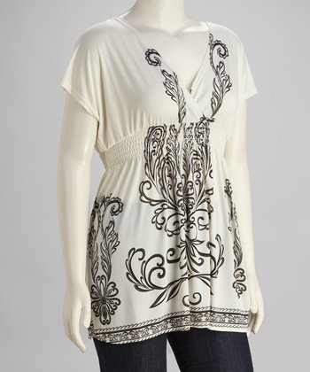 White & Black Cape-Sleeve Tunic - Plus