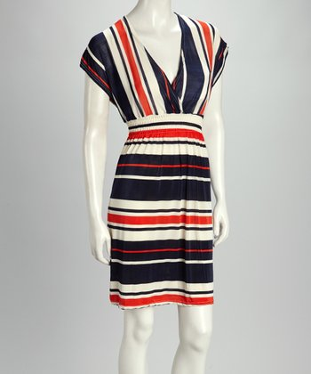 Navy & Orange Stripe Cape-Sleeve Dress