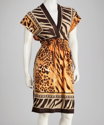 Orange Safari Surplice Dress