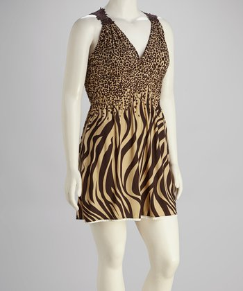 Beige & Coffee Zebra Dress - Plus