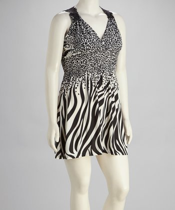 White & Black Zebra Dress - Plus