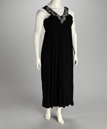 Black Shirred Maxi Dress - Plus