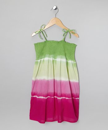Lime & Pink Tie-Dye Dress - Girls