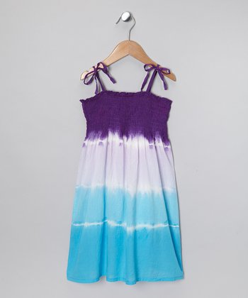 Purple & Blue Tie-Dye Dress - Girls