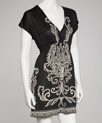 Black & White Arabesque Shirred Cap-Sleeve Dress