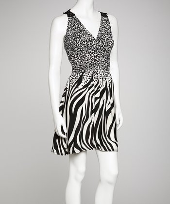 Black & White Jungle Surplice Dress