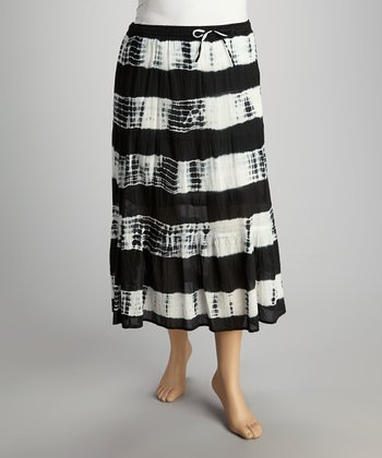 Black Stripe Skirt - Plus