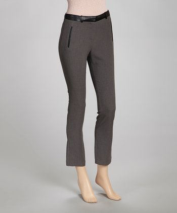 Charcoal Faux Leather Panel Straight-Leg Pants - Women