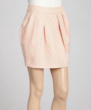 Pink Geo Pleated Skirt - Women