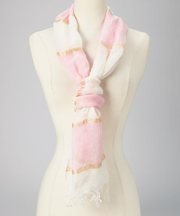 Pink & Gold Lurex Stripe Scarf
