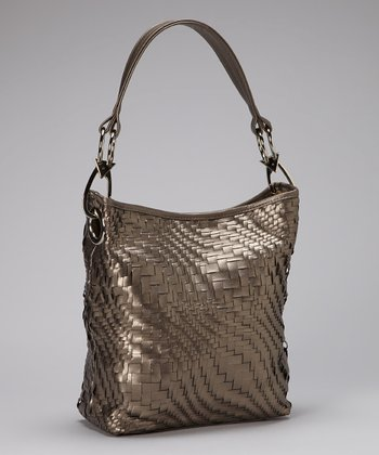 Pewter Woven Bucket Bag