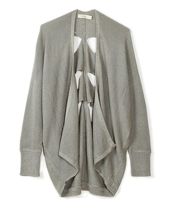 Gray Cutout Open Cardigan - Women