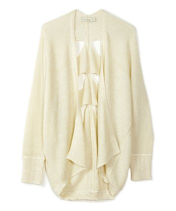 Natural Cutout Open Cardigan