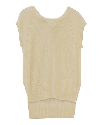 Natural Tie-Back Cap-Sleeve Sweater - Women
