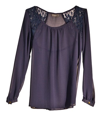 Navy Lace Panel Top - Women